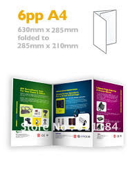 custom a4 brochures folded flyers 6pp full color thick paper