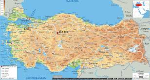 Physical Europe Map by Physical Map Of Turkey
