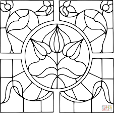 stained glass pattern coloring page free printable coloring pages