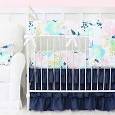 Girly Crib Bedding Isla S Fresh Floral Navy Ruffle Crib Bedding Caden