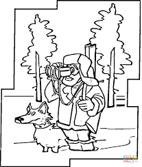 hunter dog winter coloring free printable