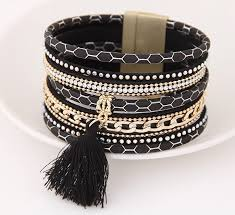 leather bracelet cuff women images Boho pu leather bracelets women magnetic tassel cuff bracelets png