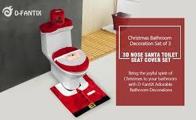 Christmas Bathroom Set by Amazon Com D Fantix 3d Nose Santa Toilet Seat Cover And Rug Set