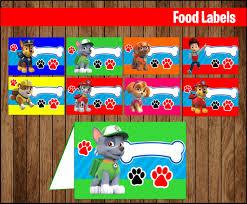 paw patrol food labels printable paw patrol food tent cards