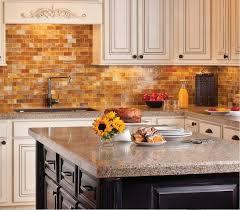 appliances granite kitchen island with brown subway tile