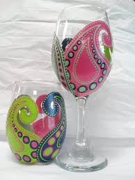 this listing is for a set of two hand painted paisley wine gl indicate whether you would like 2 stemmed wine gl or two stemless wine