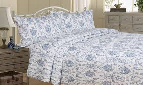 Pottery Barn Toile Bedding Bedroom Design With French Blue Toile Duvet Feat White Iron Bed