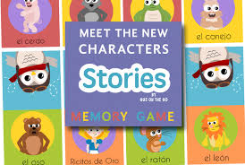 spanish story characters memory game printable gus on the go