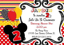 mouse birthday party invitation red yellow balloons