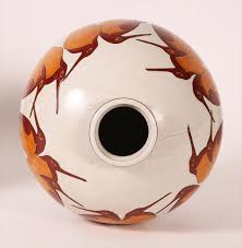 Ceramic Football Vase Igavel Auctions Three Ceramic Globular Vases With Storks