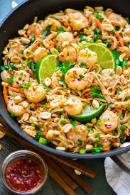 healthy shrimp pad thai well plated by erin