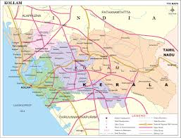 Kerala India Map by Kollam District Map Kerala District Map With Important Places Of