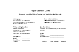 repair estimate template u2013 18 free word excel pdf documents