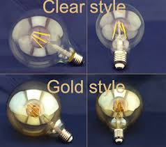 100w clear incandescent light bulb 4w 6w 8w e27 classic led filament bulb edison style g125 clear
