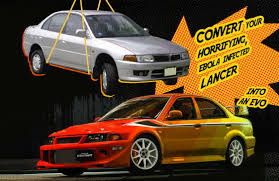 mitsubishi 90s sports car convert your boring old ebola infected lancer to an evo the