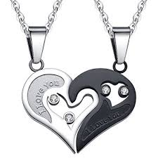 couple heart pendant necklace images Shinyso stainless steel mens womens couple pendant necklace love jpg