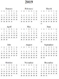 yearly calendar 2019 calendar monthly printable