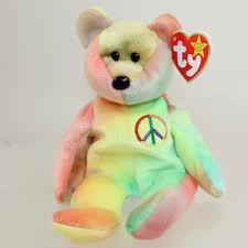peace ty beanie baby rainbow bear 4053 original retired 1996 tag