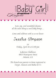 baby shower invites for girl template baby shower invitations card for
