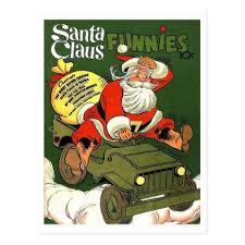 santa claus drive military jeep vintage holiday postcard