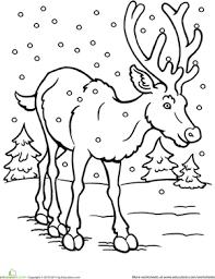 color reindeer worksheet education