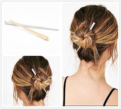 chopsticks for hair angelangela simple 2pc gold silver metal hair stick bar