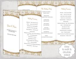 tri fold program trifold wedding program template rustic wedding program template