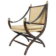 drexel campaign style faux bamboo chair safari sling arm hollywood