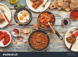 country dinner tabletop slow cooked meal stock photo 333499259