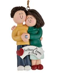 engaged hugging each other personalized ornament