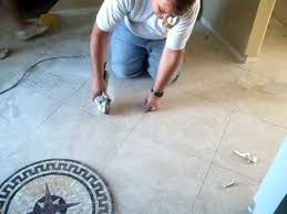 how to install a ceramic tile floor medallion