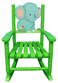 Personalized Kid Chair Furniture Handsome Green Elephant Rocking Chair Decorative And