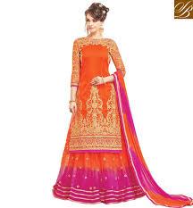 shining orange pink combination long kameez and salwaar or ghaghra dua