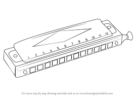 learn how to draw a mouth organ musical instruments step by step