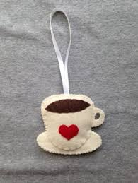 coffee mug ornament with a smile felt chocolate from