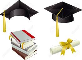 graduation books graduation isolated mortar boards books and diploma royalty free