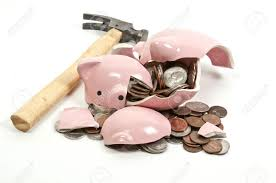 his and piggy bank broken piggy bank filled with change stock photo picture