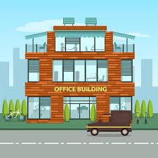 bureaux moderne immeuble de bureaux moderne dans le style plat de bande dessinée