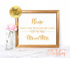 wedding foil sign leave your thoughts and wishes for
