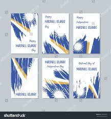 Marshallese Flag Marshall Islands Patriotic Cards National Day Stock Vector