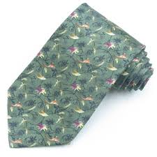 wide tie flowers and birds printed silk tie 9cm wide necktie for men navy