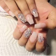 pink ombre white u0026 w rhinestones nails nails pinterest