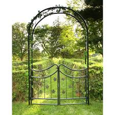 Arched Trellis Tierra Derco Bacchus 7 75 Ft Iron Arch Arbor With Gate Hayneedle