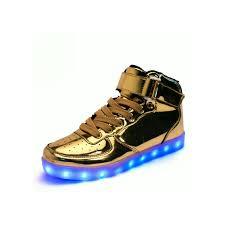 high top light up shoes unisex high tops light up shoes metallic gold neonjam london