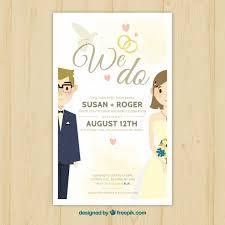 beautiful wedding invitations pretty wedding invitation with newlyweds vector free