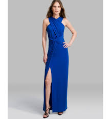 halston gown crisscross neck jersey in blue lyst