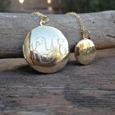 monogram locket necklace engraved monogram large locket necklace squared