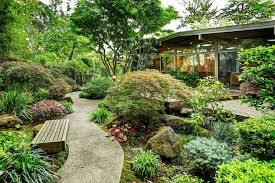 japanese garden with window wall l andscape modern and modern