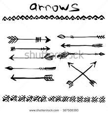 ink set arrows tribal stock vector 387508384