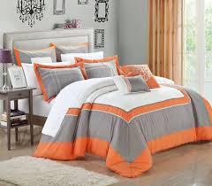 Burnt Orange Comforter King Bedroom Grey And Orange Bedding Grey And Orange Bedding Grey